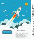 space rocket launch. start up... | Shutterstock .eps vector #1082344901