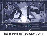automatic robot in industrial... | Shutterstock .eps vector #1082347394