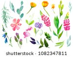 set of bright colored flowers ... | Shutterstock . vector #1082347811