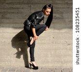 beautiful brunette with long... | Shutterstock . vector #108235451
