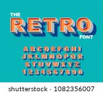 3d bold retro font. vintage... | Shutterstock .eps vector #1082356007