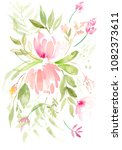 watercolor wedding flower... | Shutterstock . vector #1082373611