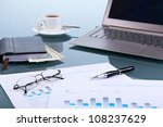 collage with business papers on ...   Shutterstock . vector #108237629