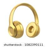 golden headphones isolated. 3d...   Shutterstock . vector #1082390111