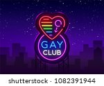 gay club neon sign. logo in... | Shutterstock .eps vector #1082391944