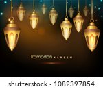 hanging golden shiny lanterns... | Shutterstock .eps vector #1082397854