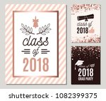 graduate 2018 greeting cards... | Shutterstock .eps vector #1082399375