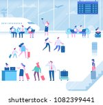different people sitting and... | Shutterstock .eps vector #1082399441