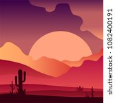 view on sunset in sandy desert... | Shutterstock .eps vector #1082400191
