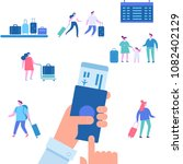 man with passport and boarding...   Shutterstock .eps vector #1082402129