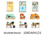 people sleeping in different... | Shutterstock .eps vector #1082404121