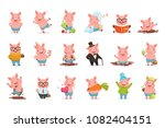 little cartoon pigs characters... | Shutterstock .eps vector #1082404151