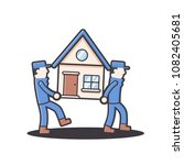 moving house home work. moving... | Shutterstock .eps vector #1082405681