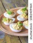 spicy deviled eggs   Shutterstock . vector #1082409464