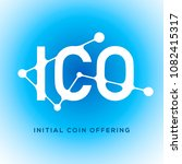 ico blockchain icon on blue... | Shutterstock .eps vector #1082415317