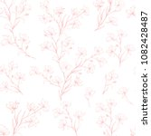 hand drawn pink flower twigs...   Shutterstock .eps vector #1082428487