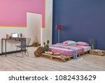 modern bedroom home design with ... | Shutterstock . vector #1082433629