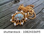 Small photo of Vintage necklace on a chain. Bijouterie. Period 60-ies of the 70-ies of the XX century