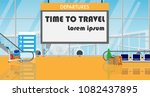 departure board with copy space ... | Shutterstock .eps vector #1082437895