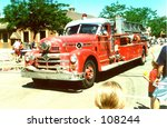 Vintage Firetruck In A Parade