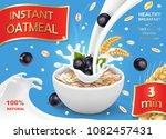 oatmeal ad  with milk splashing ... | Shutterstock .eps vector #1082457431