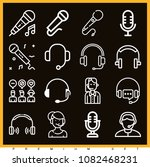 set of 16 microphone outline... | Shutterstock .eps vector #1082468231