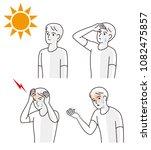 symptoms of heat stroke   Shutterstock .eps vector #1082475857