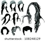 hair styling for women 3 vector | Shutterstock .eps vector #108248129