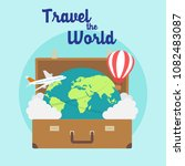 time to travel poster with open ... | Shutterstock .eps vector #1082483087