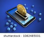 3d illustration of mobile phone ...   Shutterstock . vector #1082485031