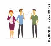 stop smoking   cartoon people... | Shutterstock .eps vector #1082485481