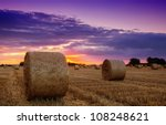 end of day over field with hay...   Shutterstock . vector #108248621