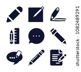 set of 9 writing filled icons... | Shutterstock .eps vector #1082489291