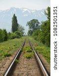 straight railway and mountain... | Shutterstock . vector #1082501351