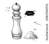 pepper and salt mill vector... | Shutterstock .eps vector #1082506931