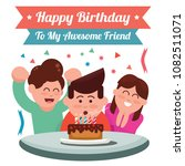 happy birthday card design with ... | Shutterstock .eps vector #1082511071