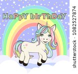 cute unicorn standing on the... | Shutterstock . vector #1082527874