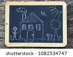 a house with a garden   drawn...   Shutterstock . vector #1082534747