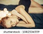 beautiful  blonde white... | Shutterstock . vector #1082536559