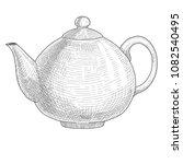 teapot isolated on white. hand... | Shutterstock .eps vector #1082540495