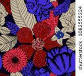 summer floral seamless design. | Shutterstock .eps vector #1082555324
