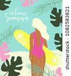 summer paradise poster with... | Shutterstock .eps vector #1082583821