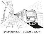 hand drawn sketch subway station | Shutterstock .eps vector #1082584274