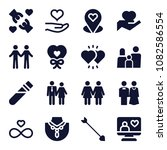 set of 16 love filled icons... | Shutterstock .eps vector #1082586554