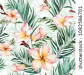 plumeria flowers and exotic... | Shutterstock . vector #1082586701