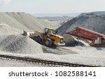 wheel loader excavator and...   Shutterstock . vector #1082588141