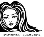beautiful woman with long hair. | Shutterstock .eps vector #1082595041