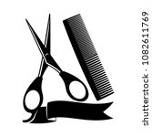 barber sign with scissors and... | Shutterstock .eps vector #1082611769