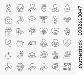 donation volunteer line icons... | Shutterstock .eps vector #1082613047