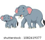 Stock vector cartoon happy mother and baby elephant 1082619377